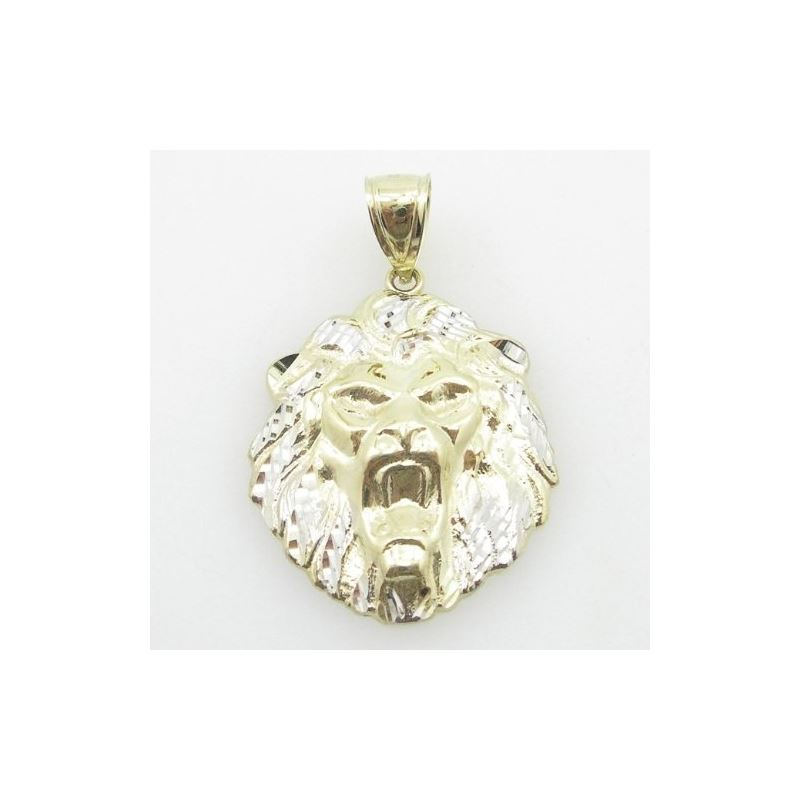 Mens 10K Yellow Gold Lion Head Pendant Length - 1.