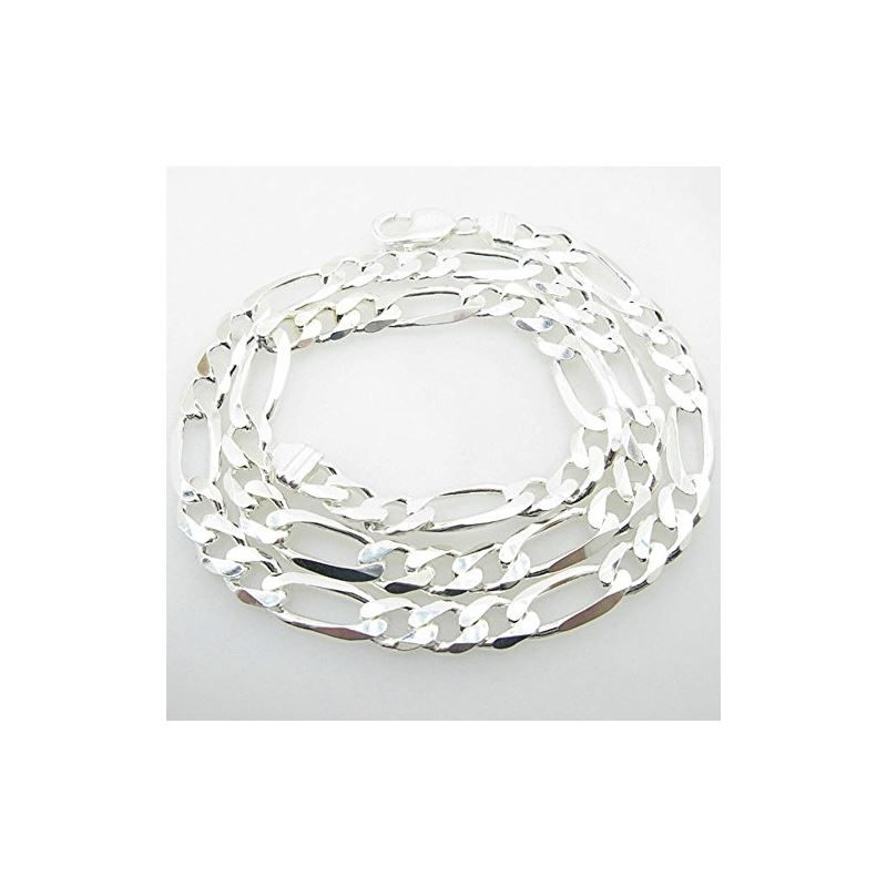 Silver Figaro link chain Necklace BDC78