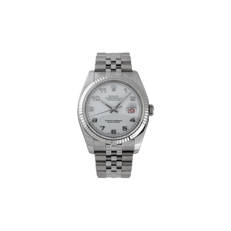 Rolex Datejust White Arabic Dial 18k White Gold Fl