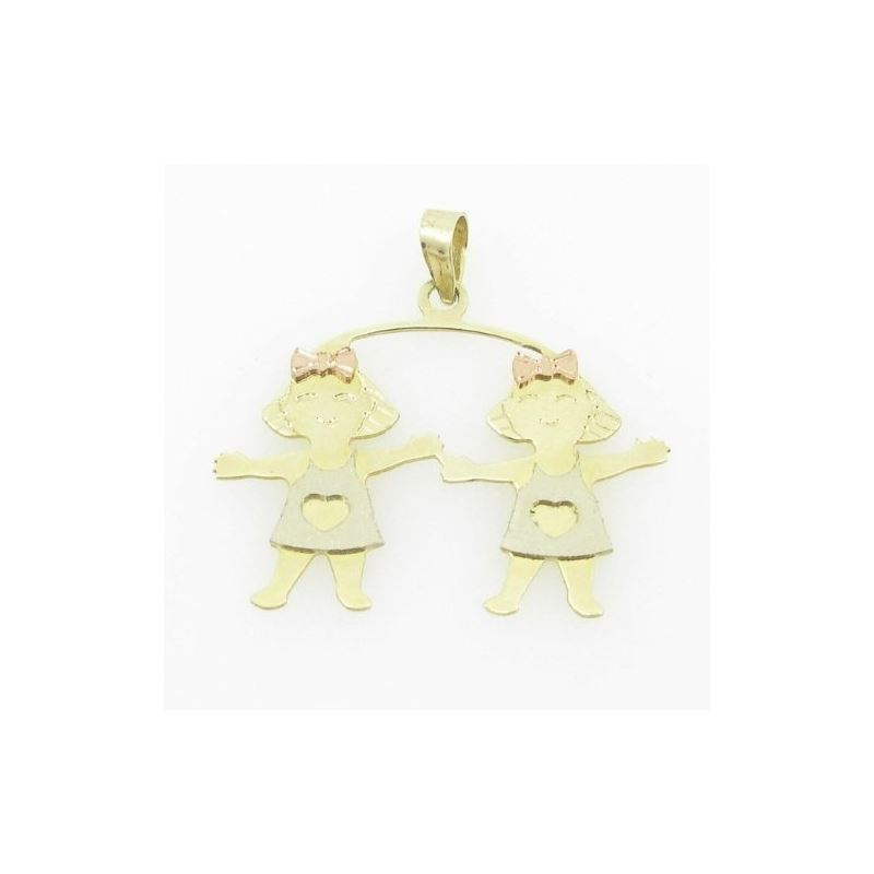 Womens Bp108 14K Yellow Gold Twin Boys Girls Charm