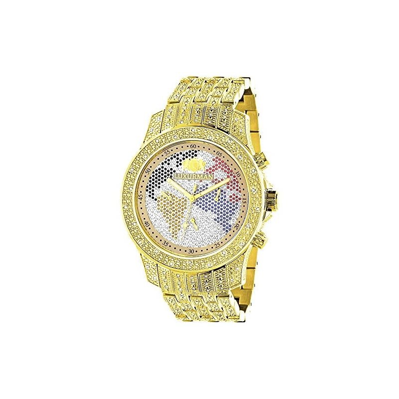 World Map Mens Diamond Watch 1.25Ct Yellow Gold Pl
