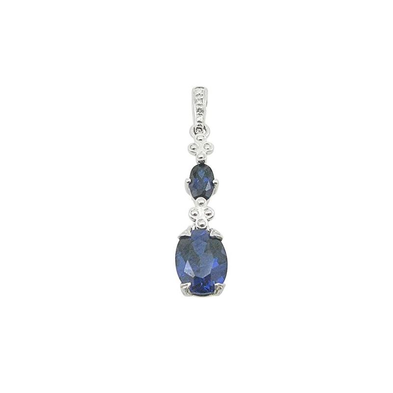 Ladies 10K Solid White Gold tear drop blue stone p
