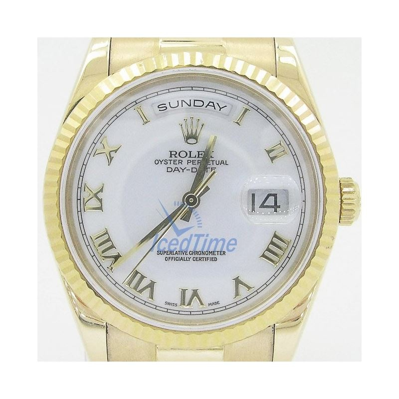 Rolex Day Date White Automatic 18kt Yellow Gold Me
