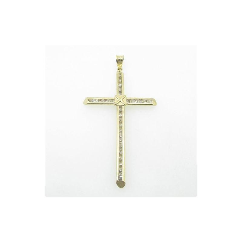 Mens 10K Solid Yellow Gold big x cross Length - 2.
