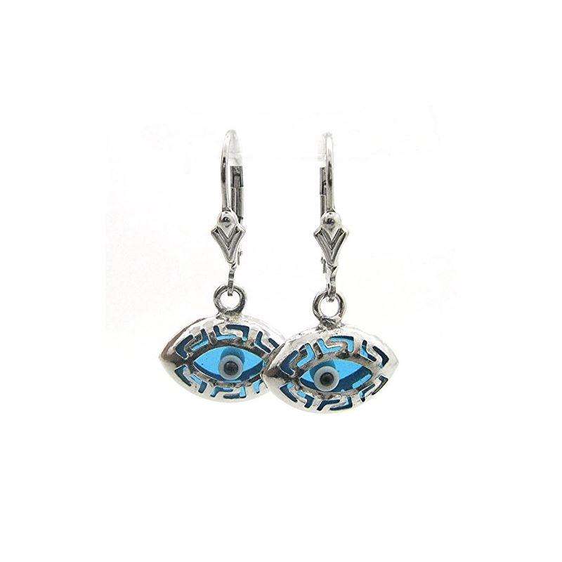 Ladies Silver evil eye dangle earrings 74978 1