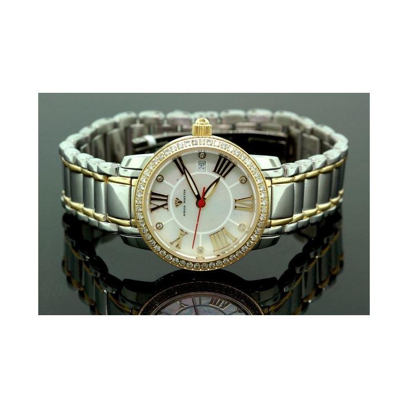 Ladies Classic Diamond Aqua Master Watch Two Tone