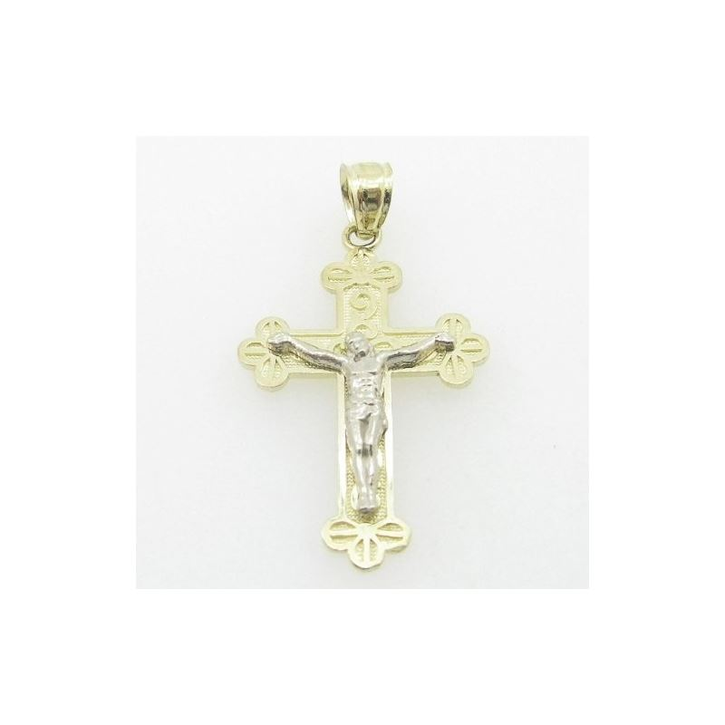 Unisex 10K Solid Yellow Gold small fancy jesus cro