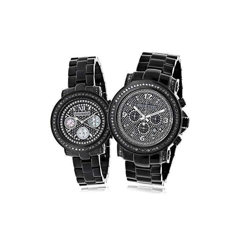 Oversized Matching His And Hers Watches: Black Dia