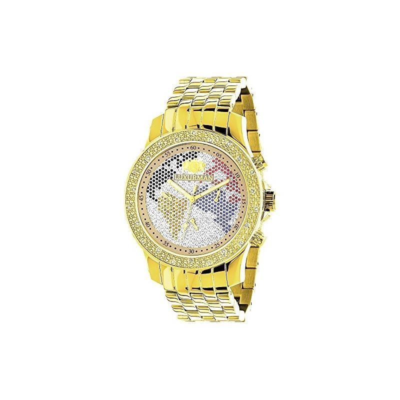 World Map Mens Diamond Watch 0.25Ct Yellow Gold