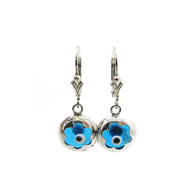Ladies 925 Sterling Silver evil eye dangle earring