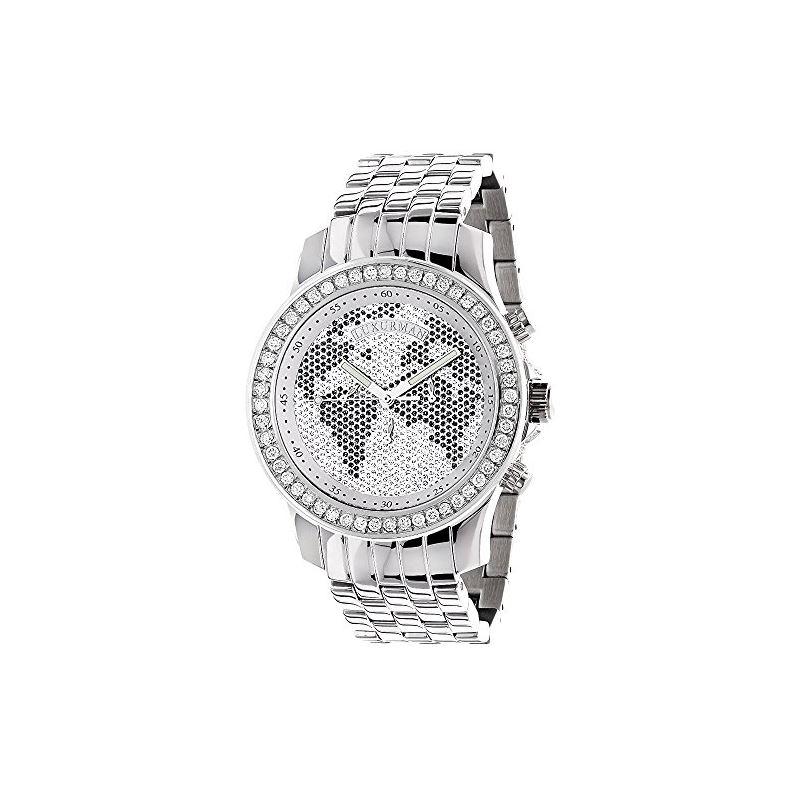 World Map Watches: Mens Diamond Watch 2.50Ct