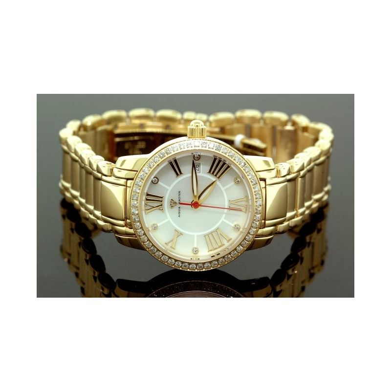 Ladies Classic Diamond Aqua Master Watch Yellow w3