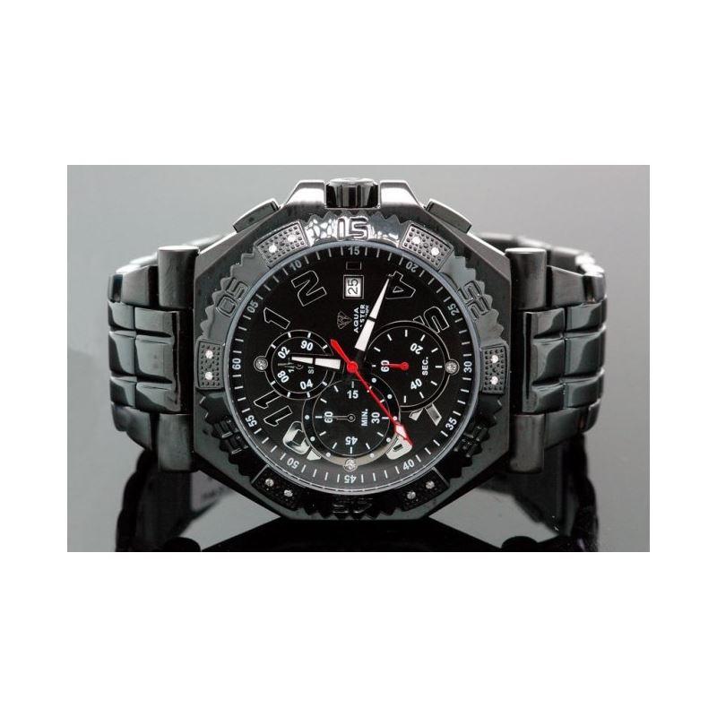 Aqua Master Mens Swiss Made Black Sports Diamond W