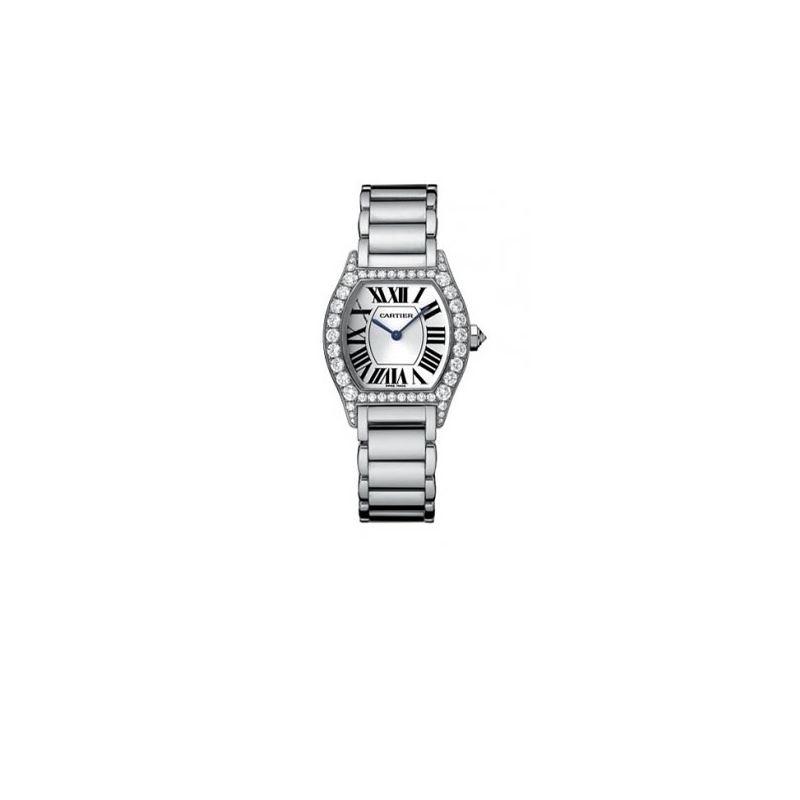 Cartier Tortue Diamond 18kt White Gold Ladies Watc