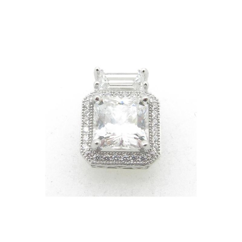 Ladies .925 Italian Sterling Silver square pendant