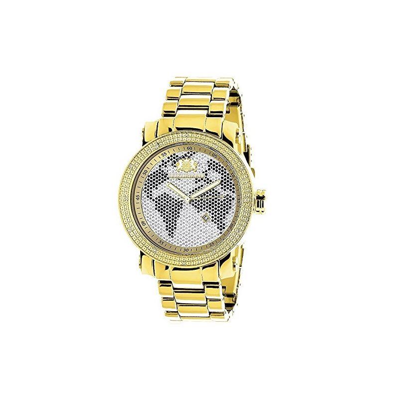 Mens World Map Diamond Watch By LUXURMAN 0.12Ct Ye