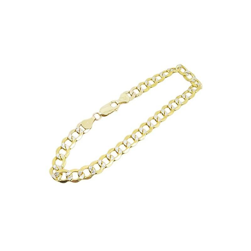 Mens 10k Yellow Gold diamond cut figaro  77384 1