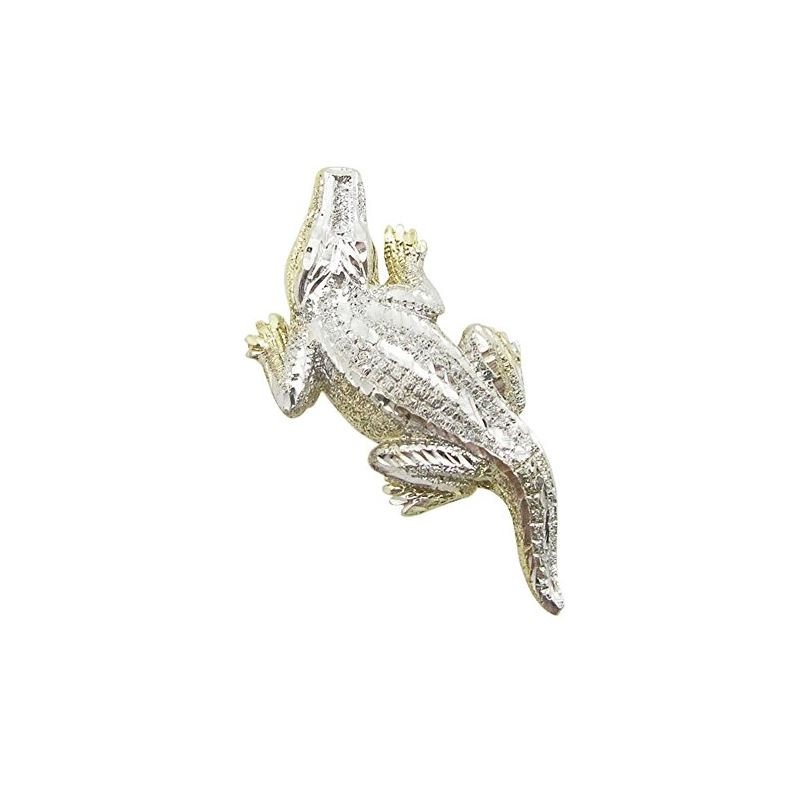 Mens 10K Solid Yellow Gold crocodile pendant Lengt