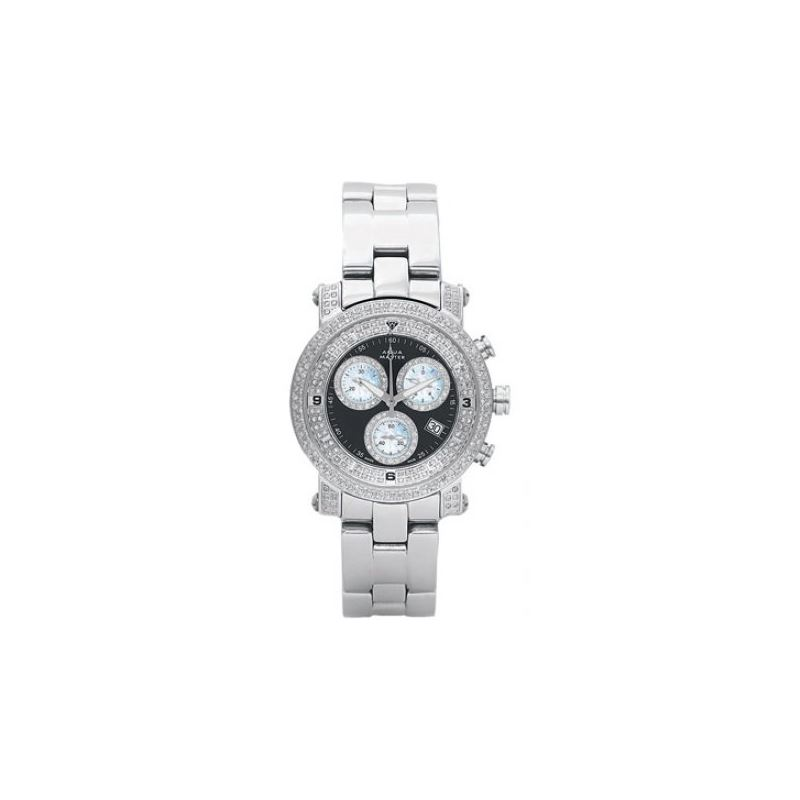 Unisex Stainless Steel Watches with 2 Row Diamond