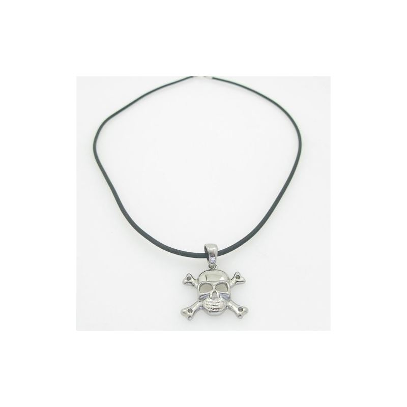 Mens genuine leather braided crystal necklace pend