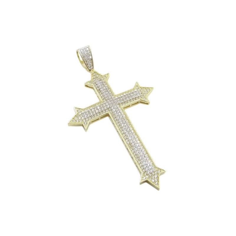 Mens 10k Yellow gold Sharp edge gold cross cz pend