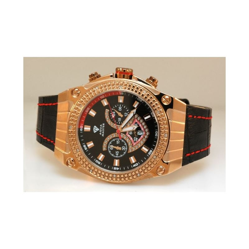 Aqua Master Yellow Gold Mens Diamond Watch Red Acc