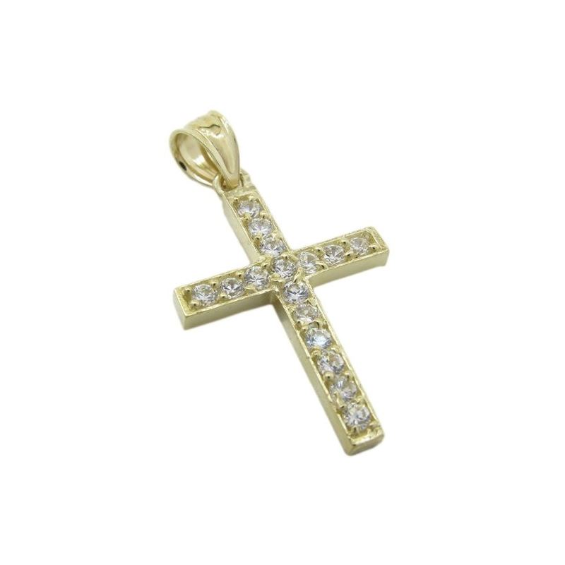 Mens 10k Yellow gold Simple cross gold cz pendant