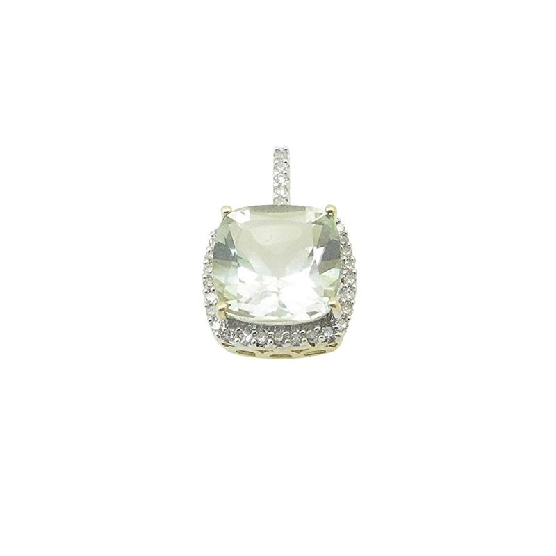 Ladies 10K Solid Yellow Gold Fancy Stone Pendant L