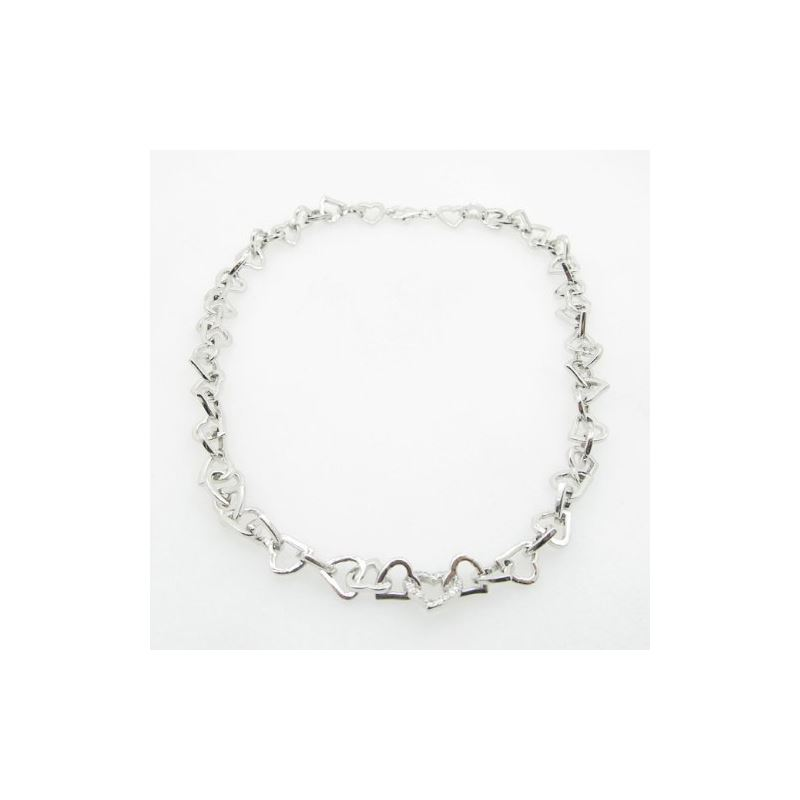 Ladies .925 Italian Sterling Silver Heart Link Nec