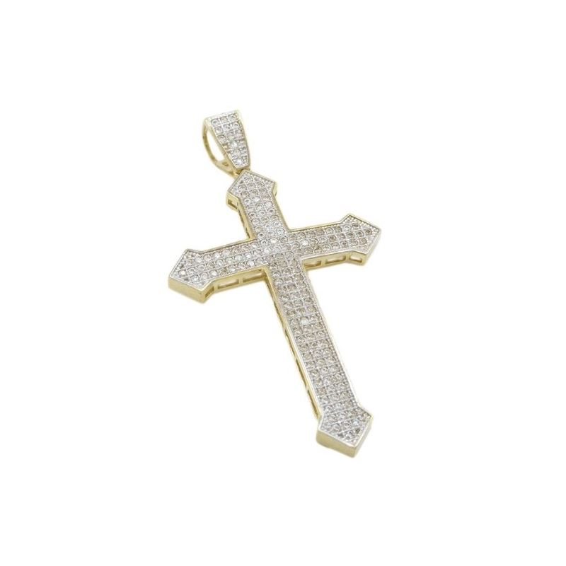 Mens 10k Yellow gold House head gold cross cz pend