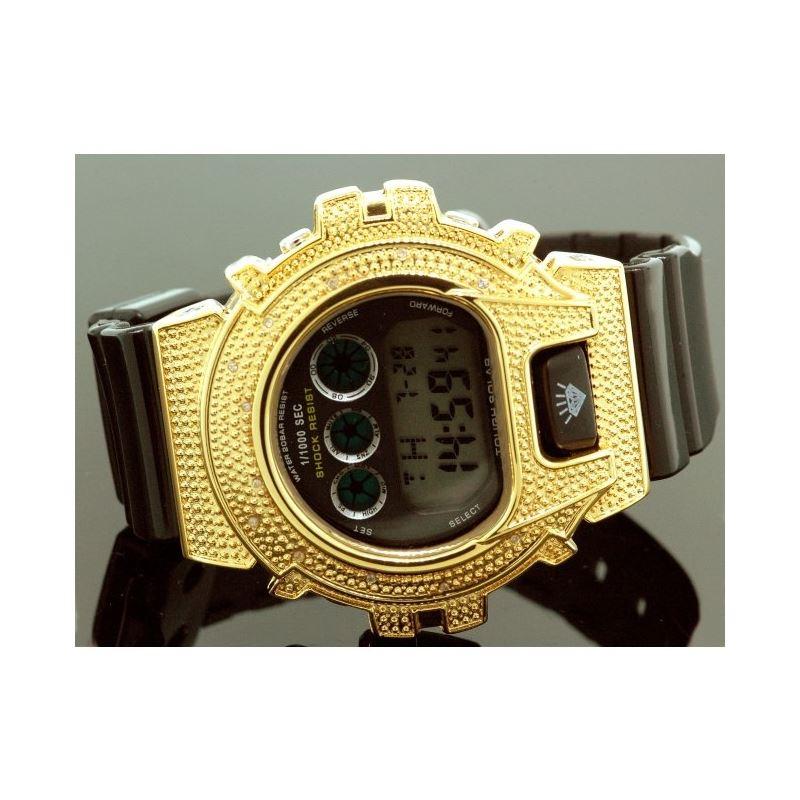 Ice Plus Mens Diamond Shock Style Watch Yellow Cas