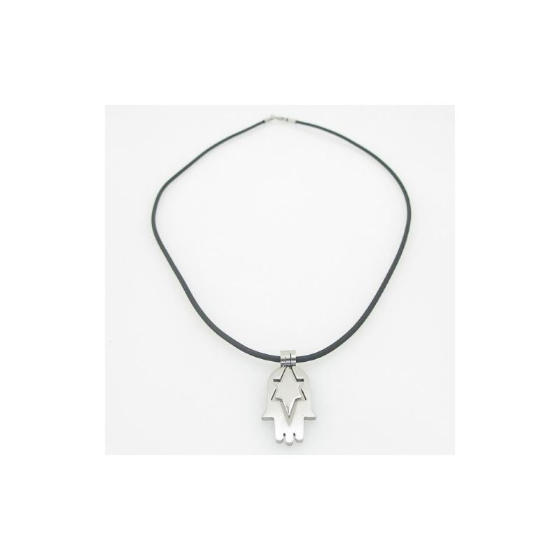 Unisex genuine leather braided crystal necklace pe