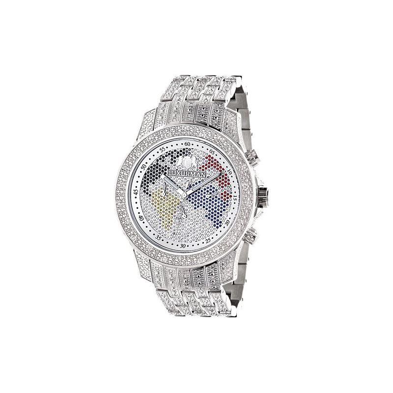 World Map Iced Out LUXURMAN Mens Diamond Watch 1.2