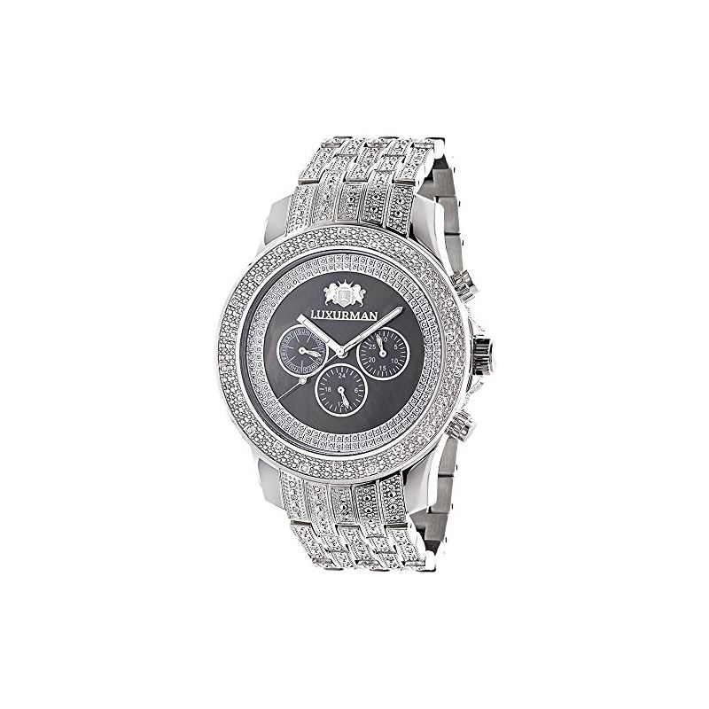 Iced Out Mens Diamond Watch By LUXURMAN 1Ct Black