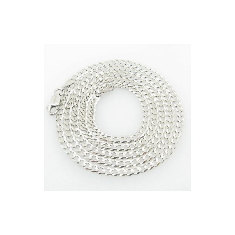 Mens White-Gold Cuban Link Chain Length  79028 1