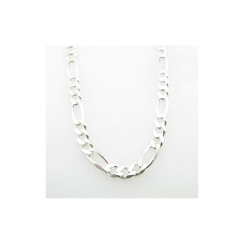 Silver Figaro link chain Necklace BDC94