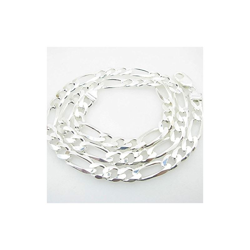 Silver Figaro link chain Necklace BDC76