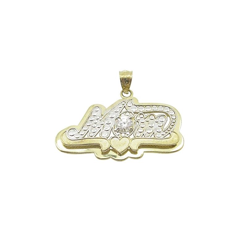 Ladies 10K Solid Yellow Gold mom pendant 87758 1