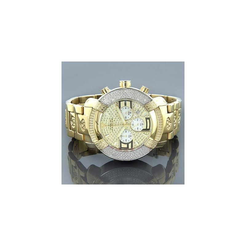 New! Large Round 20 Diamonds Yellow Gold Tone Watc