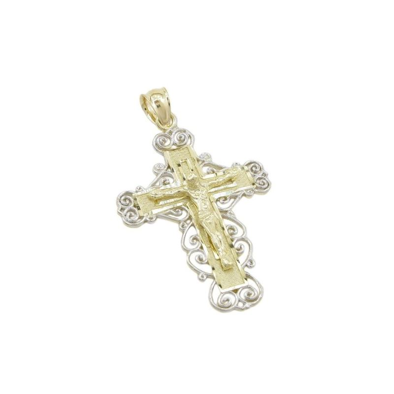Mens 10k Yellow gold Fancy jesus cross pendant GCH