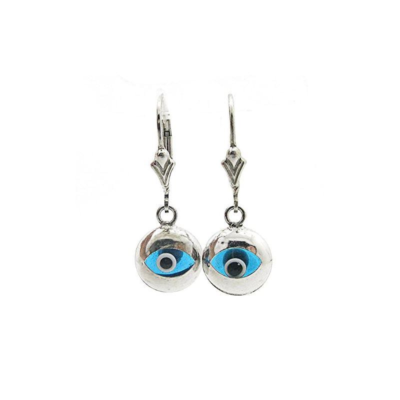 Ladies Sterling Silver evil eye dangle earrings