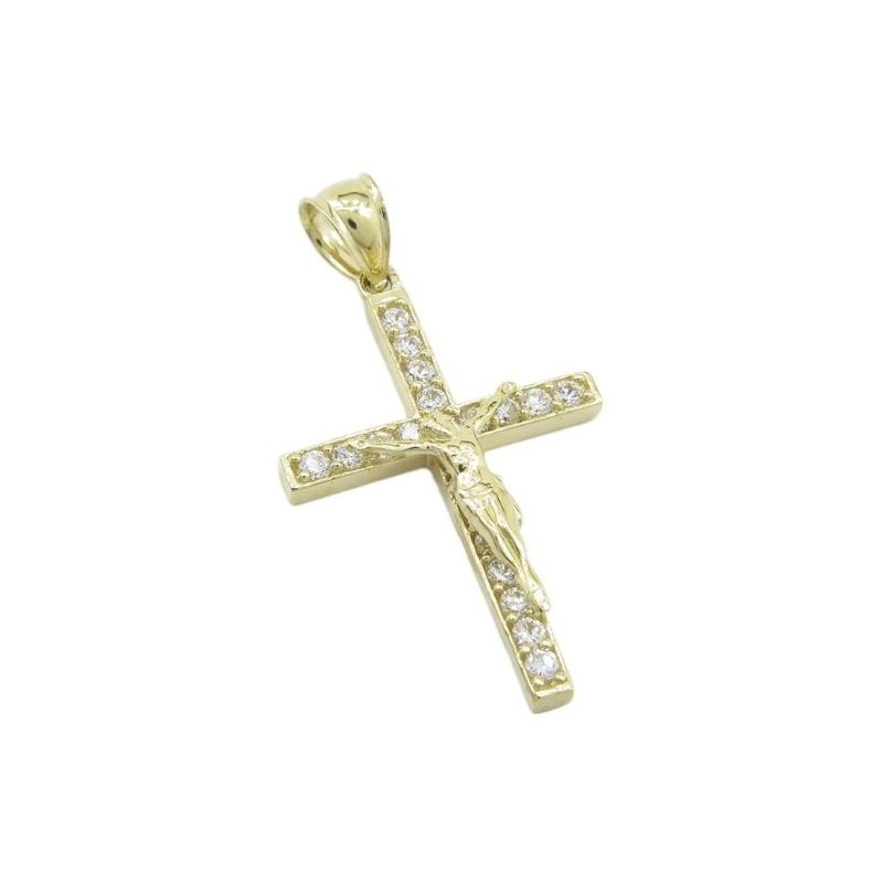 Mens 10k Yellow gold Single row gold jesus cross c