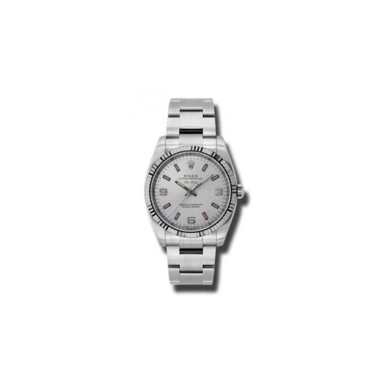 Rolex Watches  AirKing White Gold Fluted Bezel 114