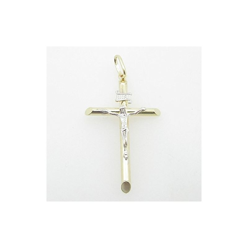 Mens 10K Solid Yellow Gold white jesus cross Lengt