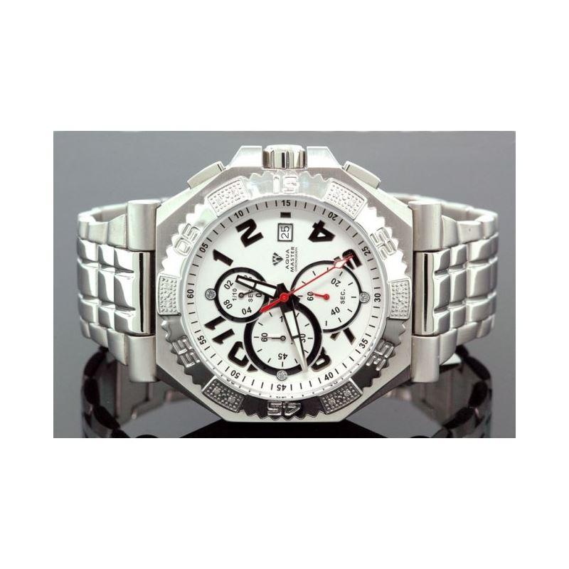 Aqua Master Mens Swiss Made Sports Diamond Watch 0