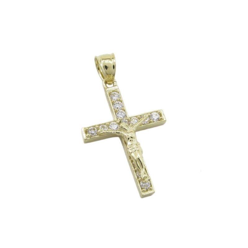 Mens 10k Yellow gold Single row gold jesus cross c