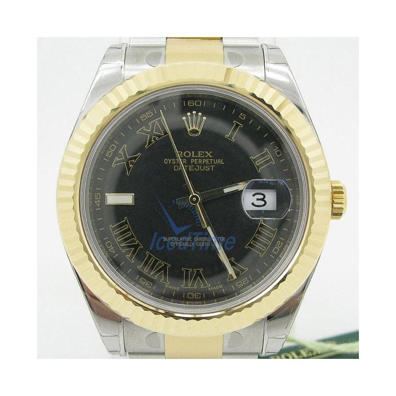 Rolex Datejust II Black Roman Dial 18k Yellow Gold