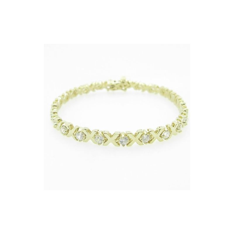 Ladies 10K Solid Yellow Gold fancy x link bracelet