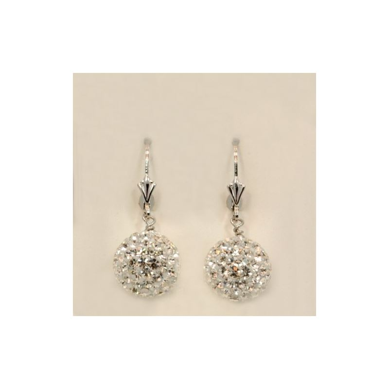 Designer Pave Disco Ball Dangle Sterling 73019 1