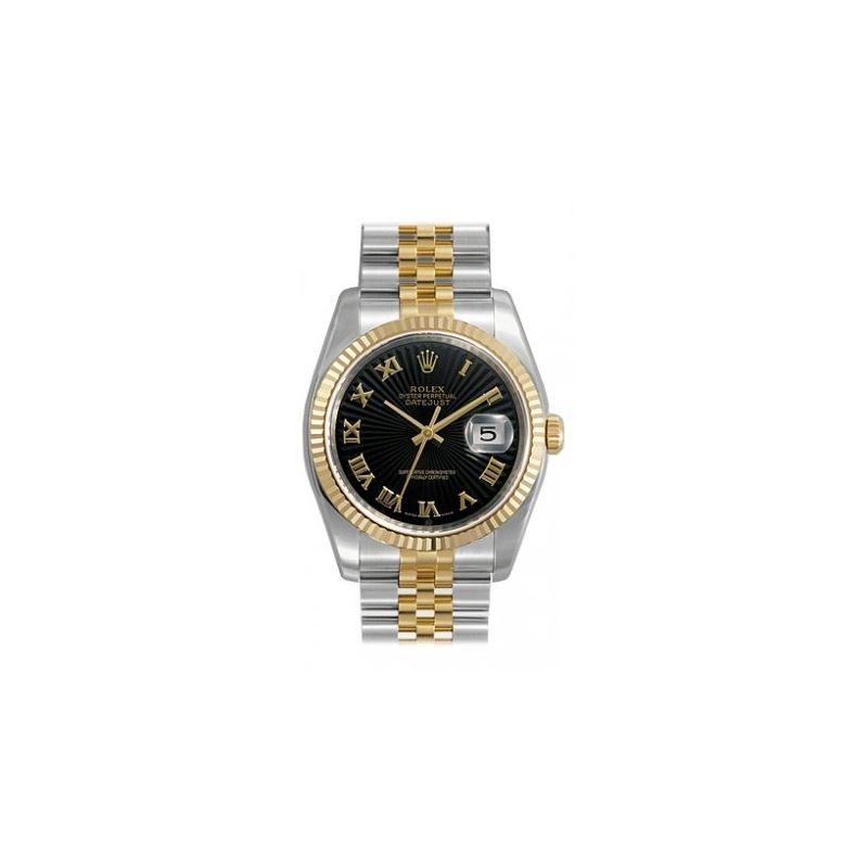 Rolex Datejust Black Sunburst Roman Dial Jubilee B